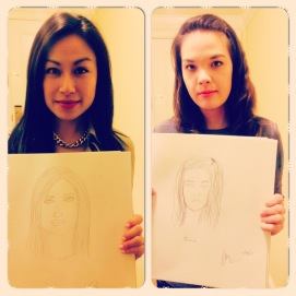 I drew her, she drew me! Entertaining ourselves while waiting :)